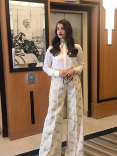 Aishwarya Rai Bachchan dressed in Stella McCartney ready for press interviews at Cannes 2015.