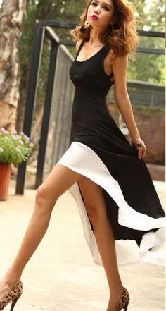 Black and white hi low dress...loving this!
