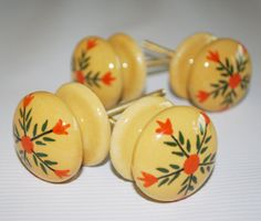 Set of Four Decorative Yellow Ceramic Knobs with Hand-Painted Orange and Green Flowers, Includes Hardware