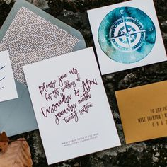 darling pearl letterpress wedding invitation watercolor compass adventure.jpg