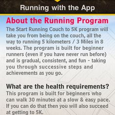 """The 5k runners app is a great app for anyone interested in starting slow with a """"coach"""" to guide you as you listen to your favorite music app! You can also earn badges along the way. Little rewards for your hard work.  I'm impressed!"""