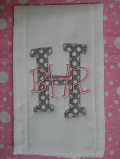 Custom boutique Pink/Grey INITIAL name pink baby girl Burp Cloth Personalized applique MONOGRAM