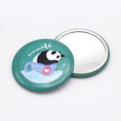 Espejo de bolsillo redondo · Oso Panda