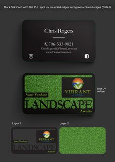 """This fun business card is a 32pt silk card (smooth) with a Laser Die Cut (""""Landscape"""" and black parts) Spot UV (Logo), Rounded Corners and green colored edges. This graphic design business card is a definite show stopper that will make the impression you need to make sure clients keep your card. #creativebuisnesscard #businesscardideas #businesscarddesigninspiration #businesscardphotography #creativebusinesscarddesign #silkcards Thick Business Cards, Plastic Business Cards, Gold Business Card, Elegant Business Cards, Professional Business Cards, Business Card Holders, Uv Logo, Gift Card Printing, Business Card Design Inspiration"""