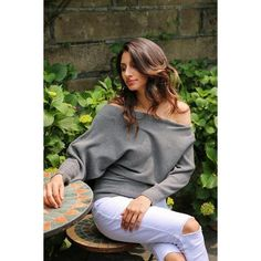 Available Sizes : S/M/L Bust(cm) : Length(cm) : Waist(cm) : Sleeve Length(cm) : Type : Loose Color : Grey Decoration : Asymmetric Shoulder Material : Dacron Collar : Collarless Pattern : Plain Sleeve Length : Long Sleeve Preppy Mode, Preppy Style, My Style, Cute Sweaters For Fall, Knit Fashion, Womens Fashion, Summer Outfits, Casual Outfits, Batwing Sleeve