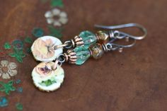 Rustic Artisan Ceramic Floral Jewelry *A Flower II* earrings n120- organic jewelry . earthy jewelry . garden Spring Summer jewelry discreet