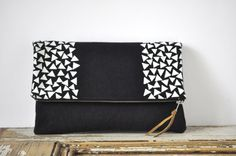 Large Pouch / Fold Over Clutch  Dark Blue with White by eveden