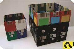 #craft - porta-trecos feito com #disquetes #pencil #holder #diy