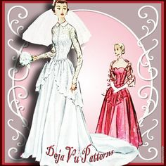 McCall's 9266 Vintage 1950s Bridal Gown Sewing Pattern by DejaVuPatterns