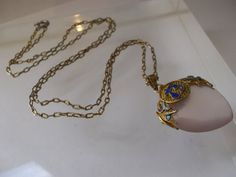 Vintage Chinese Export Gold Wash over Silver with Enamel Accents Rose Quart Pendant Necklace/ Old Chinese Silver Jewelry/ Gifts for Girls on Etsy, $86.00
