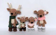 Deer Family Crochet Amigurumi Pattern / Photo Tutorial By SleepySheepPatterns on Etsy The Deer Family crochet pattern includes a detailed photo tutorial on how to crochet these adorable deer and their accessories. Crochet Doll Pattern, Crochet Patterns Amigurumi, Amigurumi Doll, Crochet Toys, Crochet Gifts, Crochet Scarves, Diy Crochet, Crochet Deer, Crochet Round