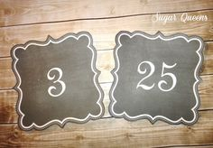DIY Printable Chalkboard Table Card Numbers / Rustic Wedding ~ Use coupon code PINTEREST15 at checkout for 15% off of your total order!