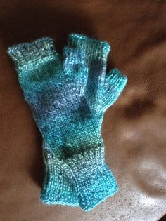 Hand knitted fingerless texting mittens on Etsy, $28.00