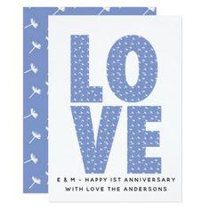 1st Wedding Anniversary Card - Modern Dandelion Li - anniversary gifts ideas diy celebration cyo unique