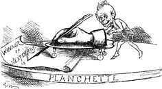 The secret of automatic writing in seances?  Why, it's the imp of the planchette who guides the pencil!  From Punch, 1892.