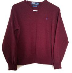 Polo Ralph Lauren Mens Large Lambswool V-Neck Burgundy Sweater  #VINTAGEPoloRalphLauren #VNeck