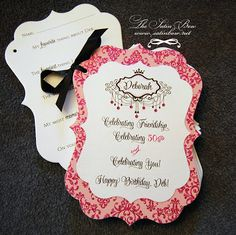 Memory/Question Book - Great for baby shower, bridal shower or milestone event or Birthday - you can have as many pages as needed.  Hot Pink Damask and Black with Rhinestone Accents - By The Satin Bow - www.satinbow.blogspot.com
