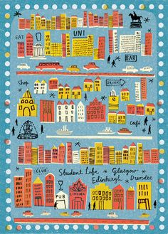 Student City - Louise Lockhart Student Life - Louise Lockhart cut out drawing collage illustration