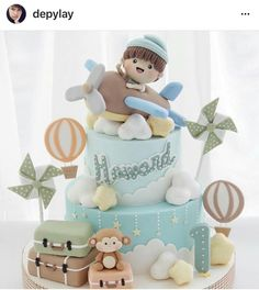 56 Ideas Baby Boy Birthday Decorations Sweets For 2019 Baby Boy Cakes, Cakes For Boys, Baby Shower Cakes, Bolo Laura, Cake Designs For Kids, Super Torte, Baby First Birthday Cake, Cupcakes Decorados, Birthday Cookies