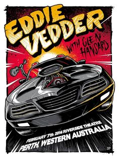 2014 Eddie Vedder - Perth Silkscreen Concert Poster by Brandon Heart AP