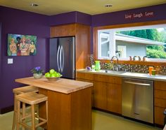 purple kitchen walls with lime green ceiling, bold colored kitchen walls