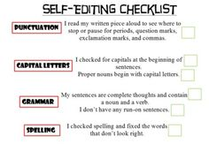 Self-Editing Writing Checklist
