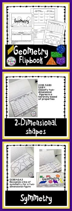 Geometry Flip Book is a great resource to use while teaching or reviewing 4th and 5th grade geometry concepts.  5G.B.3 & 5G.B.4 Classify two-dimensional figures  4.G.A.3 Recognize a line symmetry for two-dimensional figures 4.G.A.1 Draw points, lines, line segments, rays, angles, and perpendicular and parallel lines.  Geometry Pages Include:  Polygon (Irregular & Regular Polygons) Draw Shapes & Lines  Classify two-dimensional shapes Draw the lines of symmetry Polygon Tree