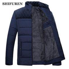 1d137ddec3f5 Shifuren Winter Men Jacket Parkas Thicken Warm Cotton-Padded Fleece Linned  Outwear Long Sleeve Causal Coat Plus Size M-4Xl