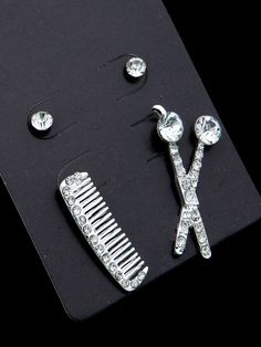 AE0003 Fashion 2 pairs on a card - comb, scissor and stud earring set