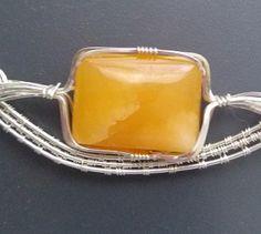 Polished Quartz in a butterscotch color  / Pendants - IrenaDesigns.com - Fine Quality Artisan Jewelry