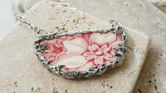 Excited to share the latest addition to my shop: Red Floral Pendent-Broken China Jewelry, Vintage Plate-Blooming Flower-Stainless Steel Chain-Vintage Bone China-Transferware Crafts To Make, Arts And Crafts, Diy Crafts, Bone Crafts, Broken China Jewelry, Soldering Jewelry, Stainless Steel Chain, Precious Metals, Jewelery