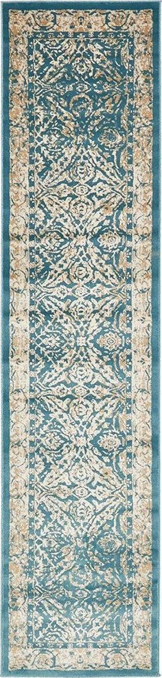 Modern Country Traditional 3 feet by 13 feet (3' x 13') Runner Copenhagen Teal Contemporary Area Rug * New offers awaiting you  : Area Rugs, Runners Pads