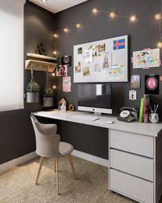 home office ideas; small home office; - home office ideas; small home office; home office id - Home Office Space, Home Office Desks, Office Workspace, Apartment Office, Small Workspace, Apartment Plants, Bedroom Apartment, Cute Desk Decor, Work Desk Decor