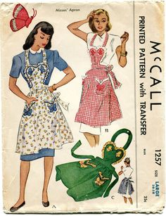 Vintage Apron Pattern McCall 1257 by treazureddesignz Vintage Apron Pattern, Retro Apron, Aprons Vintage, Vintage Sewing Patterns, 1940s Fashion, Vintage Fashion, Fashion Fashion, Fashion Models, Vintage Outfits