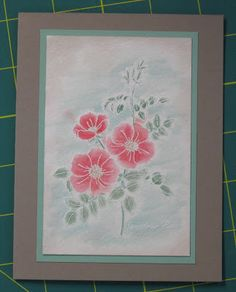 hand crafted card from Stampin' on the Prairie ... white embossed  Sweet Briar Rose with several water color techniques ... delightful! ... framing look centered on card base ... Stampin' Up!