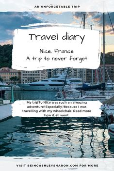 In the first Travel diary of Nice I tell you how the trip to Nice went and how I spent my first days. I travelled to Nice with my power electric wheelchair and the trip was a true adventure. Nice France, Amazing Adventures, I Fall In Love, Blogging, Electric, Traveling, Wanderlust, Told You So, Lifestyle