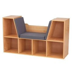 Buy KidKraft Wooden Bookcase with Reading Nook, Storage & Gray Cushion - Natural Bookshelves Kids, Bookcases, Woodworking For Kids, Woodworking Clamps, Woodworking Horse, Woodworking School, Intarsia Woodworking, Woodworking Furniture, Grey Cushions