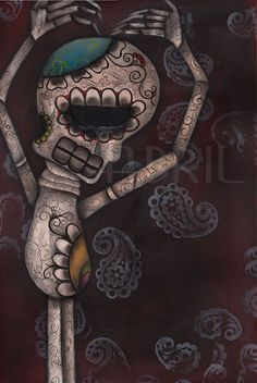 Unappreciated Original day of the Dead  Painting by Abril Andrade $600.00