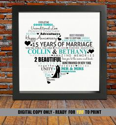 Personalized 15th Anniversary gift 15th wedding by BlingPrints