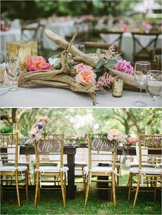 driftwood centerpiece and mr and mrs signs / http://www.deerpearlflowers.com/driftwood-wedding-decor-ideas/