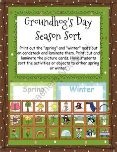Groundhog's Day Season Sort product from CurriculumCounts on TeachersNotebook.com