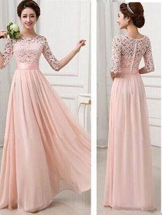 A-line Lace Bodice Chiffon Skirt Long Bridesmaid Dresses Half Sleeve Pink Prom Dresses sold by DiyDresses. Shop more products from DiyDresses on Storenvy, the home of independent small businesses all over the world. Party Long Dress, Prom Dresses Long Pink, Long Bridesmaid Dresses, Evening Dresses, Formal Dresses, Prom Gowns, Party Dresses, Pink Dresses, Formal Prom