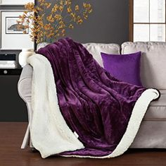 Merous Sherpa Blanket Reversible Fuzzy Luxury Microfiber Super Soft Cozy All Season Blanket for Bed or Couch Purple Twin Sherpa Throw Blankets X Fuzzy Blanket, Cozy Blankets, Cozy Bedroom, Dream Bedroom, Bedroom Ideas, Purple Bedding, Bedroom Accessories, Cozy Place, All Things Purple
