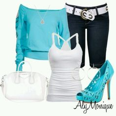 White and light blue outfit
