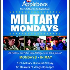 Discounts Every Monday in May #Military - MilitaryAvenue.com  @Elizabeth Dennis