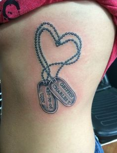 Chain for dog tag army wife tattoos, sister tattoos, girlfriend tattoos, military tattoos Army Wife Tattoos, Marine Tattoos, Girlfriend Tattoos, Navy Tattoos, Military Tattoos, Mom Tattoos, Couple Tattoos, Body Art Tattoos, Warrior Tattoos