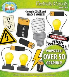 These realistic electricity and circuit clip art images will be sure to add to your science resources! Use these clip art images in your worksheets, task cards, interactive notebooks, and quizzes!  Keywords: electricity, current, physical science, energy, volt, battery, wires, centers, rotations, circuit, stations, light bulb, clipart