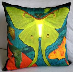 gypsy eclectic home furnishings | Designer Pillow Cover - LUNA MOTHS 2 Chartreuse - Fits 18x18 Insert ...