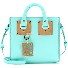Sophie Hulme Box Albion Leather Shoulder Bag ($685) ❤ liked on Polyvore featuring bags, handbags, shoulder bags, blue, totes, leather tote handbags, light blue handbags, blue leather tote bag, leather shoulder bag and leather tote bags