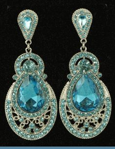 Vintage Style Silvertone Chandelier Earrings Accented with Aqua Blue Rhinestones $38 @ www.whimzaccessories.com